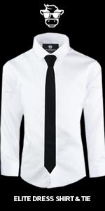 Black n Bianco Boys White Button Down Dress Shirt and Tie