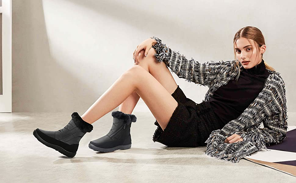 Slip On Snowshoe Boots Comfy Fur Lined Warm Ankle Booties Fashion High Top Walking Boots Outdoor