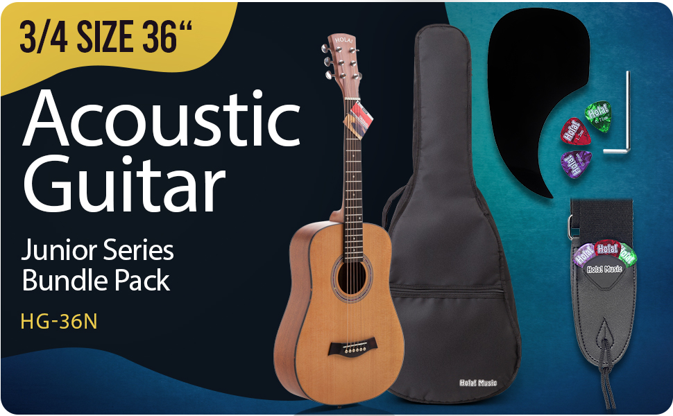 Hola Music HG-36N 3/4 Acoustic Guitar Bundle Pack with strap, picks, bag, case, truss rod, pickguard