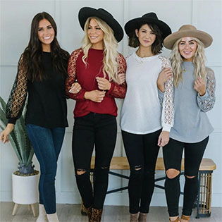 long sleeve lace tops