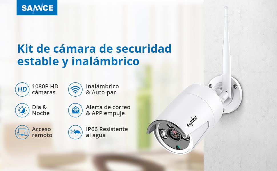 SANNCE Kit de Vigilancia WiFi 8CH 1080P NVR con 1TB Disco Duro Instalado y CCTV 4 1080P Cámaras Videovigilancia Inalámbrica Sistema de Segiridad ...