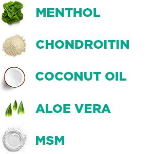 menthol, chondroitin, aloe vera, MSM