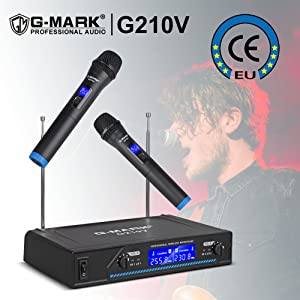 G Mark G210v Wireless Microphone Professional 2 Channel Karaoke Mic For Party Singing Church Show Home Amazon Co Uk Musical Instruments