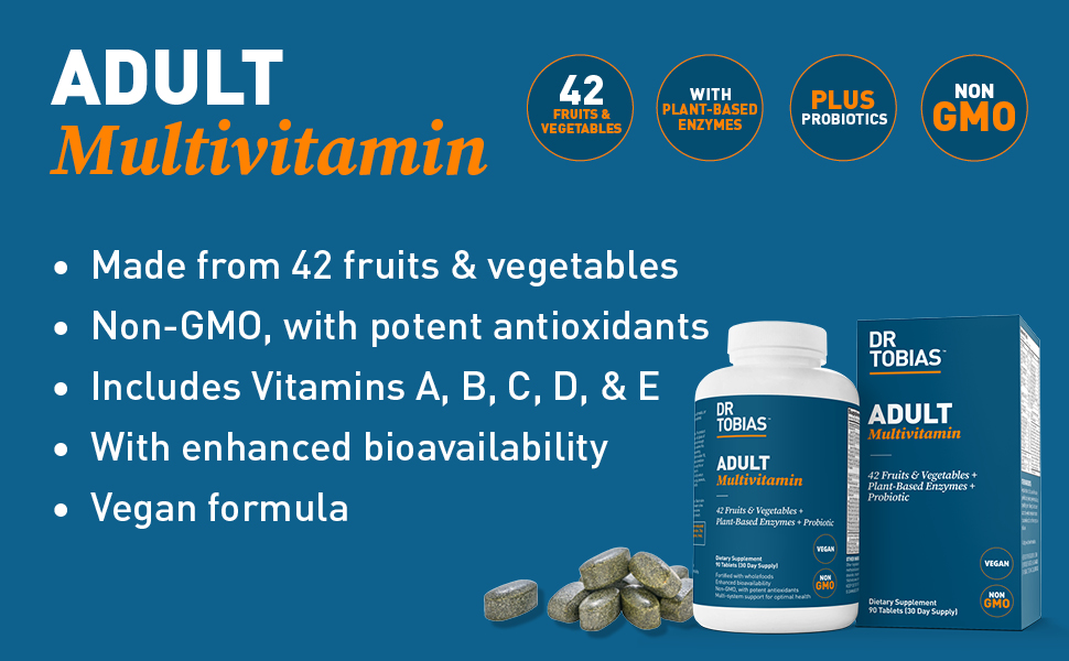 dr tobias, adult, multivitamin, multivitamins, supplement, vitamin e, non-gmo, vitamin a, vitamin d