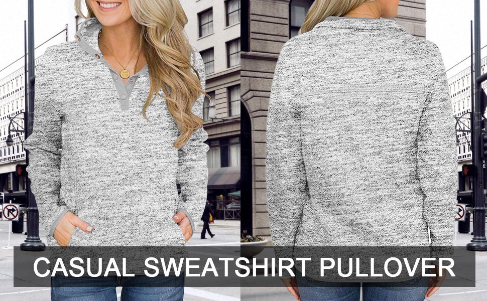 Women's Long Sleeve High Collar Pullover Sweatshirt with Pocket