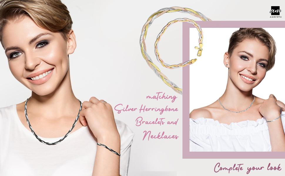 "Amberta 925 Sterling Silver 5 mm Herringbone Chain Bracelet Size 7.5"" in"
