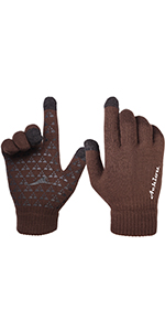 Achiou Winter Knit Gloves Touchscreen Coffee