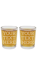 personalized etched shot glasses, set of two customized with Your Text Here in 5 font choices