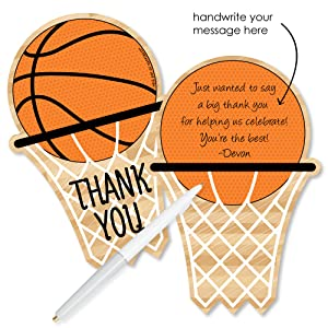 Amazon Com Big Dot Of Happiness Nothin But Net Basketball Shaped Thank You Cards Baby Shower Or Birthday Party Thank You Note Cards With Envelopes Set Of 12 Toys Games