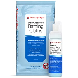 shampoo, bathing cloths, water activated, rinse free, no rinse, gentle, fresh, bath, shower, elderly