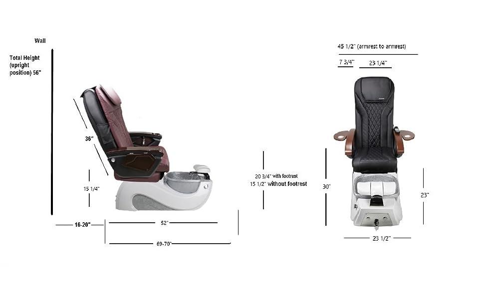 Serenity II Pedicure Chair Dimension