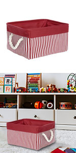 Storage Basket Bin with Cotton Handles,Collapsible Laundry Basket for Toy Clothes Storage