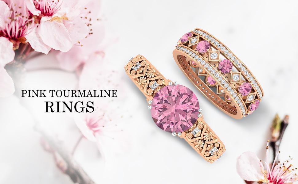 banner Pink Tourmaline Rings