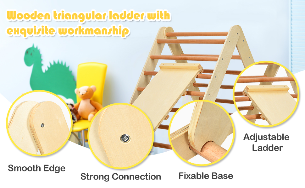 Foldable Wooden Climbing Triangle Ladder