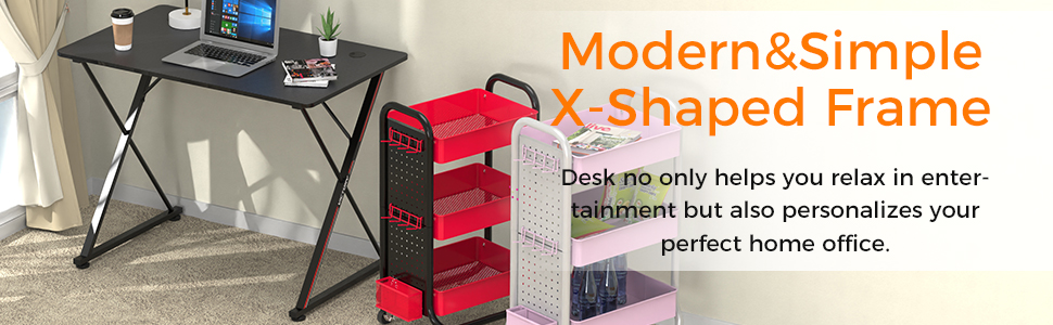 Computer Desk Mouse pad X-Shaped Writing Table Workstation Handle Rack Cup Holder Headphone Hook