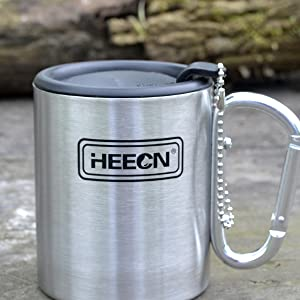 HEECN Double Wall Camping Mug With Lids hess-032bbk 8oz with Sealed Lid