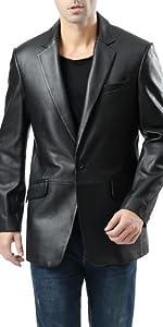 BGSD Men's John 1-Button Leather Blazer Lambskin Sport Coat Jacket