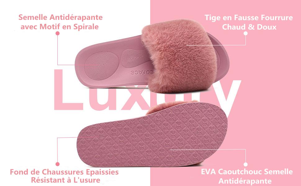 COFACE Femme Douillette Niche avec Pompon tricot/é Chaud et Chaussons Chaussures antid/érapant Semelles TPR Chaussures en 5 Couleurs