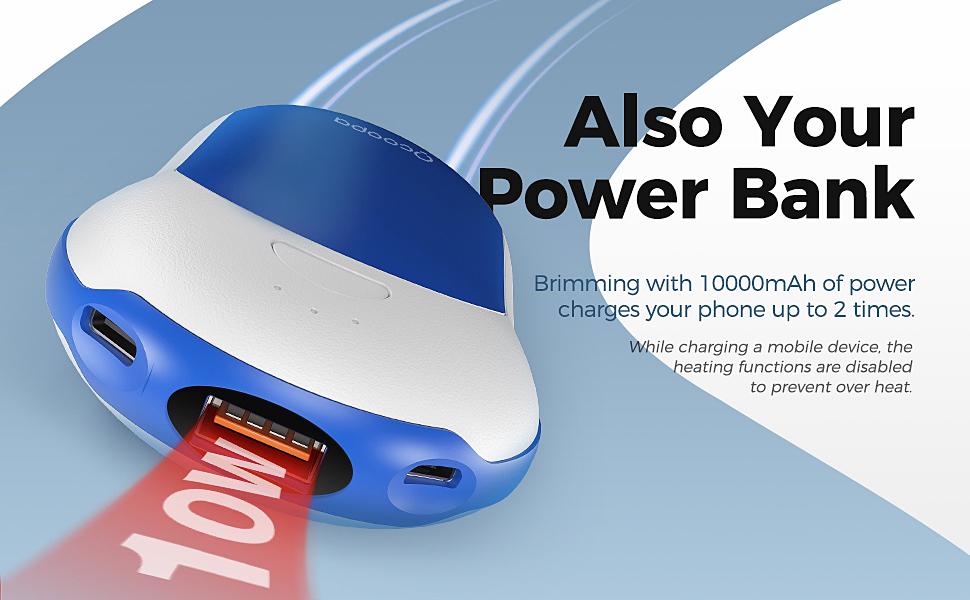 10000mAh hand warmer power bank