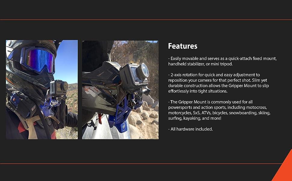 dango, dango design, action camera, gripper, gripper mount, sports, power sports, ATV, motor sports
