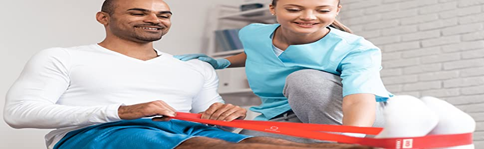 Patients are using Atom Impact resistance bands to do rehab exercises