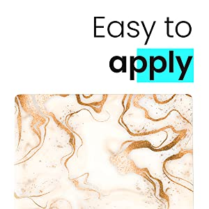 Laptop skin sticker pokiop marble white classy elegant modern minimal modern golden decor