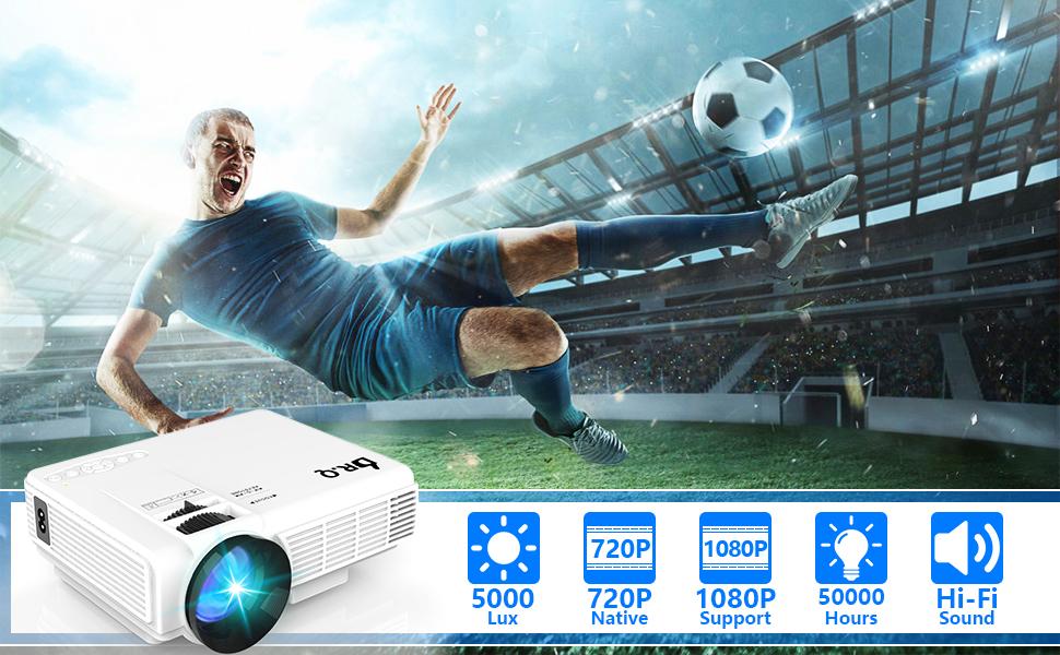 Proyector DR.Q HI-04 con Pantalla de Proyección, 5000 Lux Proyector de Video Soporta 1080P HD, Proyector Mini Compatible con TV Stick PS4 Xbox Wii HDMI VGA SD AV USB, Home Theater Proyector,