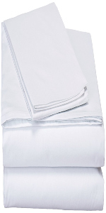 pure solid white fitted flat bed sheets set with pillow cases soft cozy modern simple home decor
