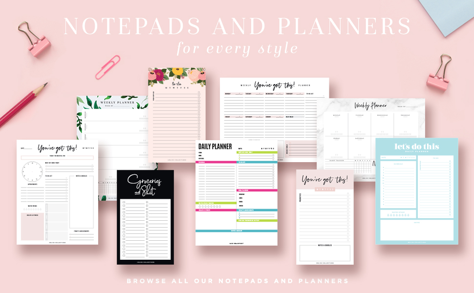 Weekly Daily Monthly Calendar Planner To Do List Notepad Tear Off Desk Shopping Pad Notes