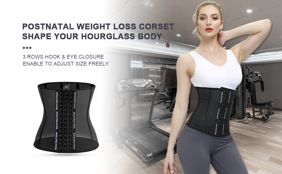 Waist trainer for women,latex breathable corset for weight loss
