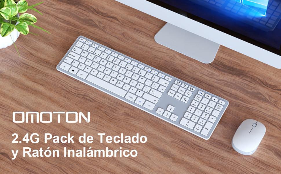 OMOTON Pack de Teclado y Ratón Inalámbrico con USB (2.4 GHz ...