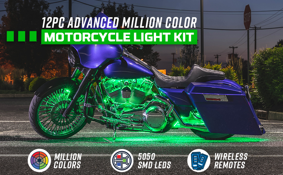 12pc Advanced Million Color Motorcycle Light Kit