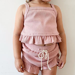 Cute 2PCS Baby Girls Cotton Ribbed Summer Ruffle Outfits