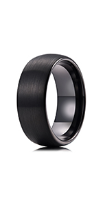 black brushed tungsten ring