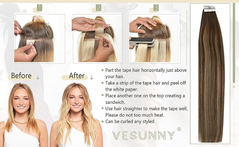 Balayagae Invisible Real Human Hair Tape in Extensions
