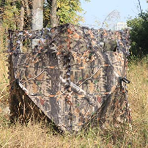 2 Person Hunting Ground Blind Dual Door Portable Ground Deer Turkey Brush Loops