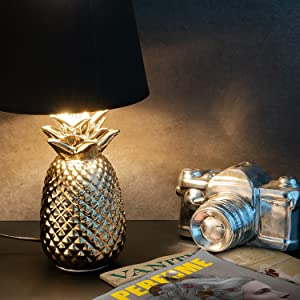 gold pineapple lamp with black shade