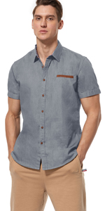 Mens Dress Shirts Short Sleeve (Dark Gray)