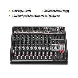 Muslady Consola de Mezcla de Sonido Profesional para DJ de 12 ...