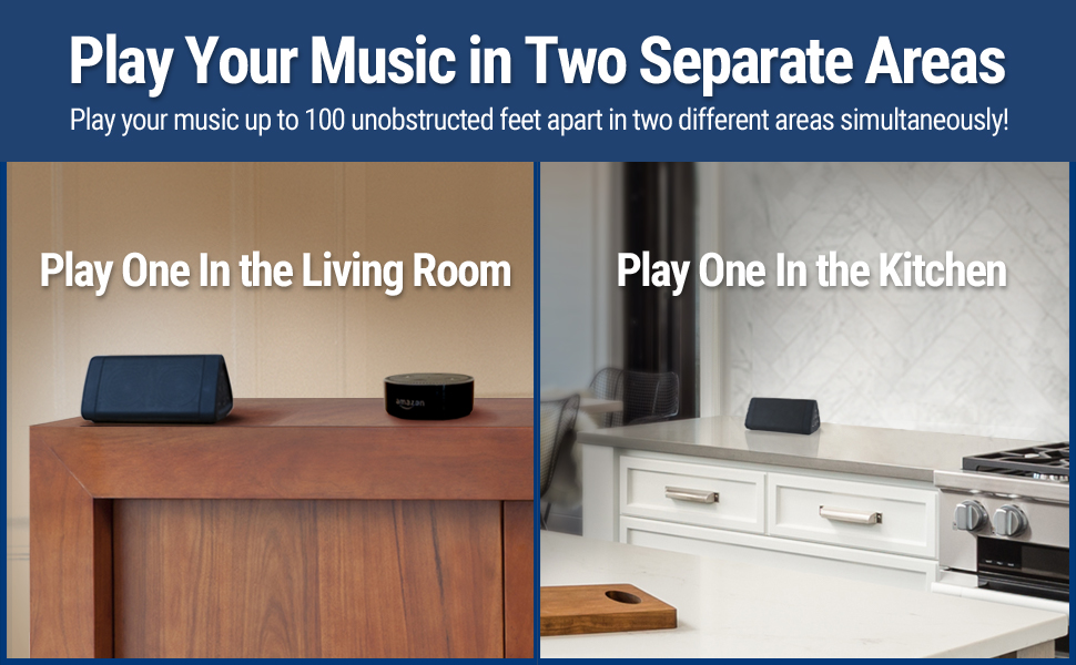 OontZ Angle 3 bluetooth speaker play music in two separate areas of the house - living room kitchen