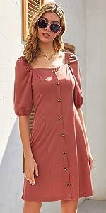 Vestito Scollo Quadrato da Donna Macnica Mezza Lunghezza con Bottoni Decorati