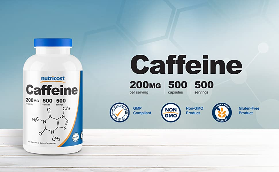 caffeine capsules caps pills by Nutricost 200mg
