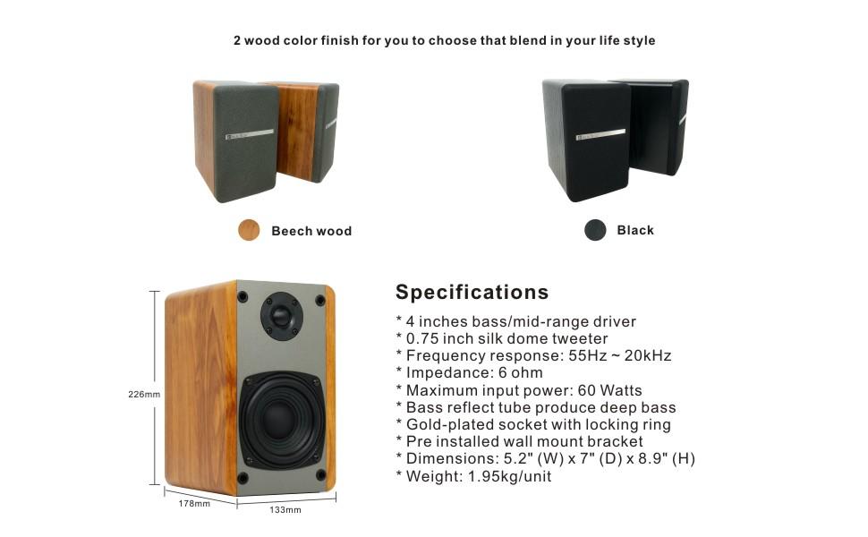 T25 Bookshelf Speakers Wood Finish