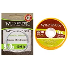 wild water fly fishing 9' 0X tapered monofilament leader, 0X 30m nylon tippet