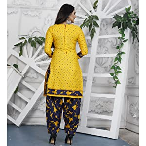 Rajnandini Yellow Cotton Printed Unstitched Dress Material For Women