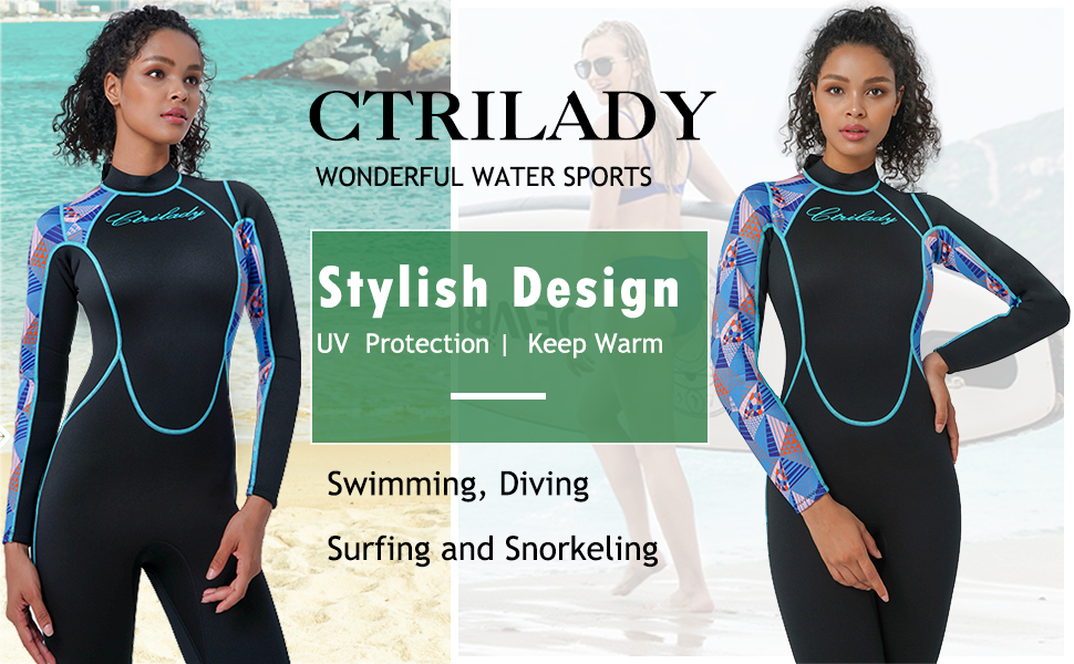 CtriLady Wetsuit Long Sleeve Diving Suits with Front Zipper UV Protection Full Body Swimwear for Swimming Diving Surfing Kayaking Snorkeling Women 1.5mm Neoprene Full Wetsuit