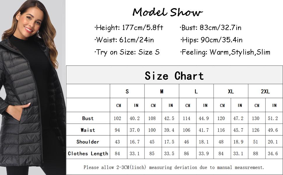 Women's Packable Down Coat Ultra Light Weight Hip Length Hooded Jacket