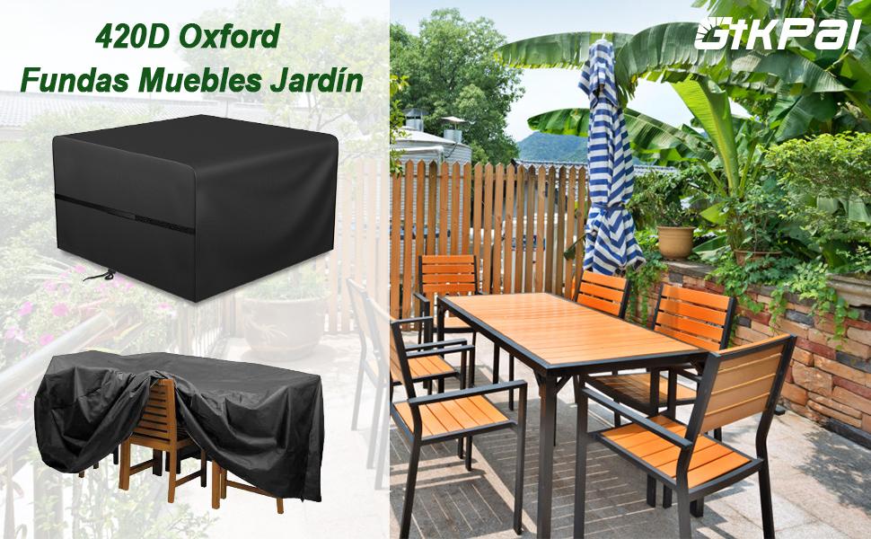 GIKPAL Fundas Muebles Jardín, Impermeable Cubierta de Exterior Funda Protectora Muebles 420D Oxford Resistente al Polvo Anti-UV para Sofa de Jardin, al Aire Libre, Mesa y Sillas (125 * 125 * 74