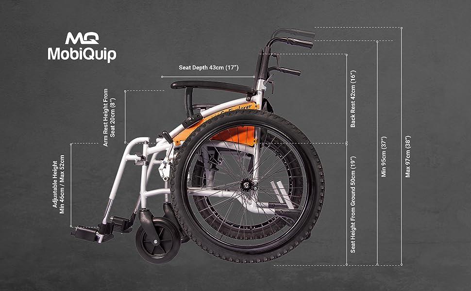 dimensions for G-explorer wheelchair