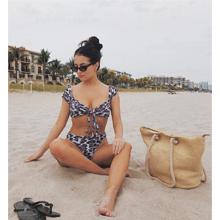 Two Pieces Leopard Print Knot Front Crop Off-Shoulder High Cut Bandeau Bikini Sets Bathing Suit